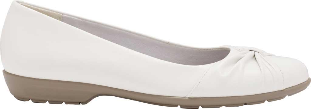 Women's Walking Cradles Fall Ballet Flat, White Leather, large, image 2