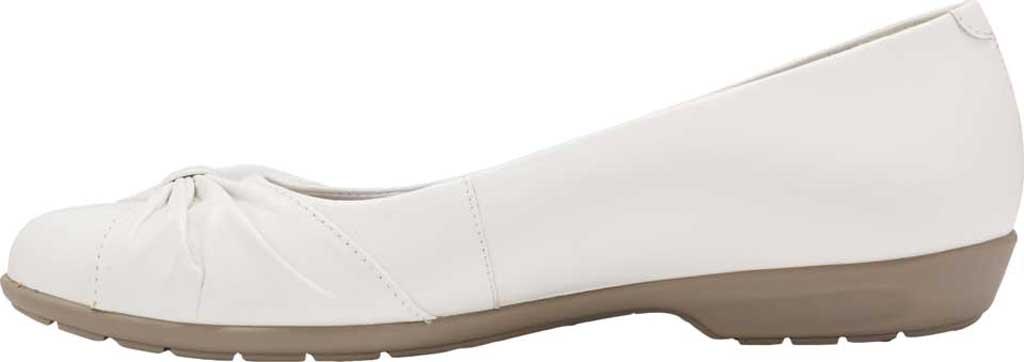 Women's Walking Cradles Fall Ballet Flat, White Leather, large, image 3