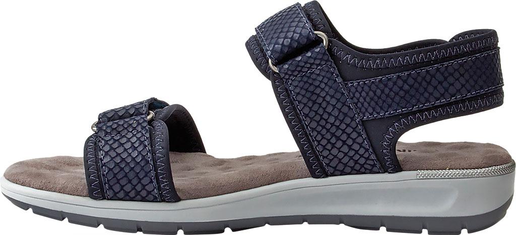 Women's Walking Cradles Shea Walking Sandal, Navy Snake Print Lycra/Leather, large, image 3