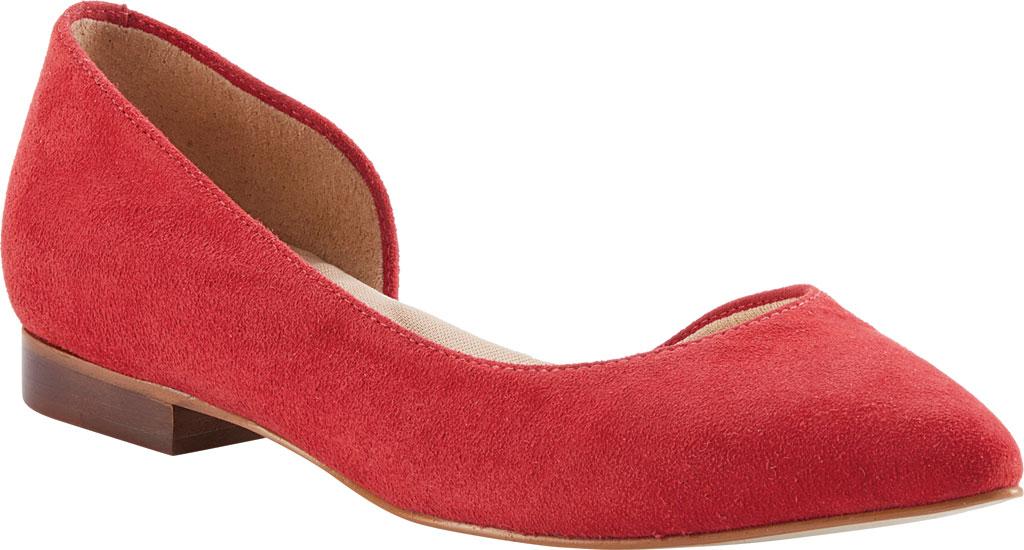 Women's Walking Cradles Raya Pointed Toe Flat, Red Suede, large, image 1