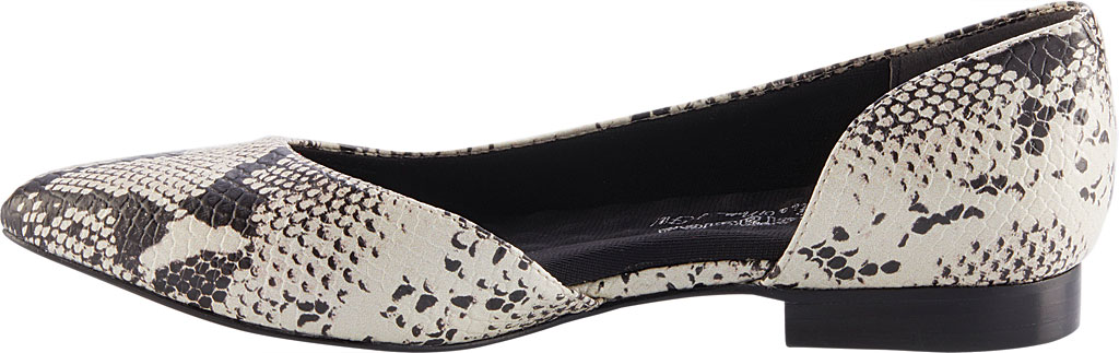 Women's Walking Cradles Raya Pointed Toe Flat, Bone/Black Snake Print Leather, large, image 3