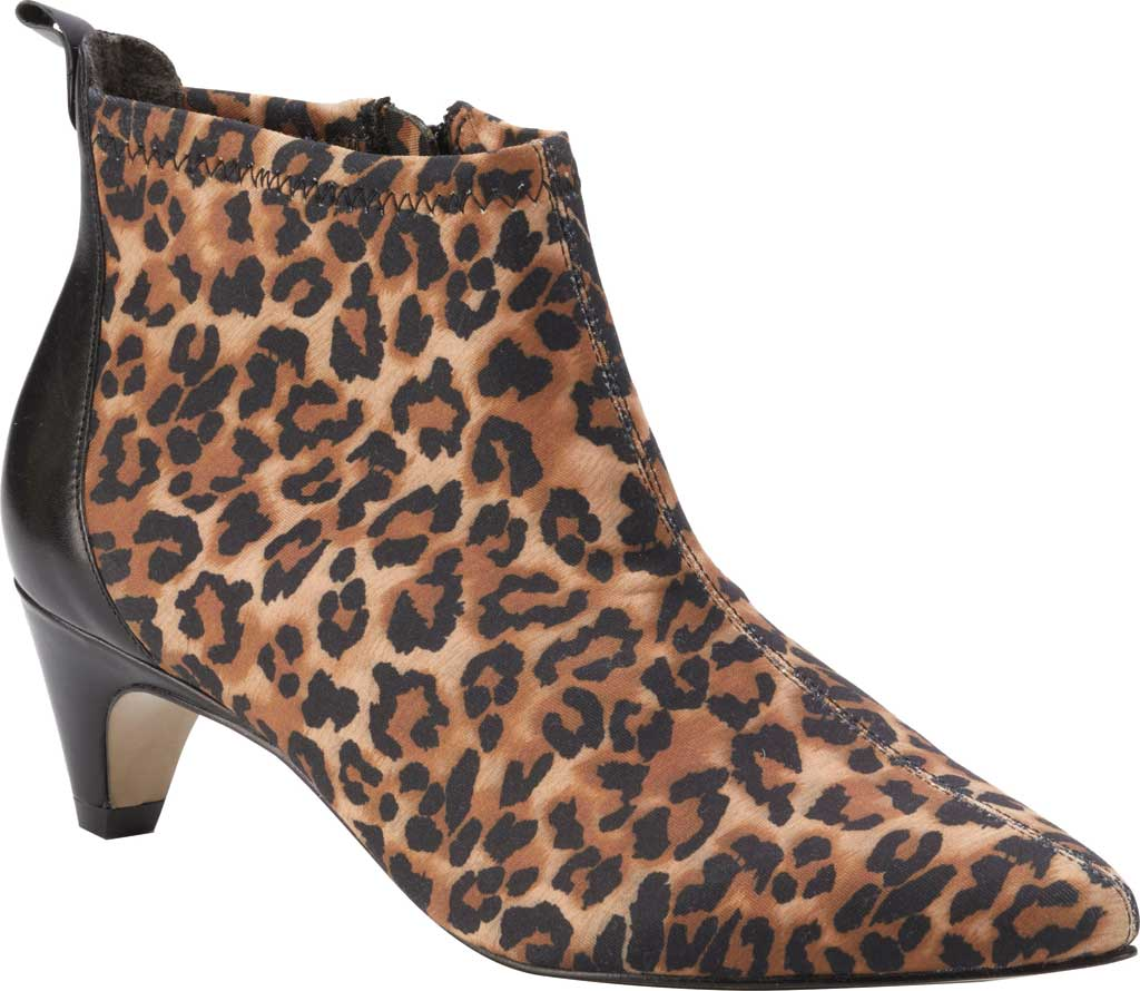Women's Walking Cradles Billie Pointed Toe Ankle Bootie, Leopard/Black Stretch Fabric/Cashmere, large, image 1