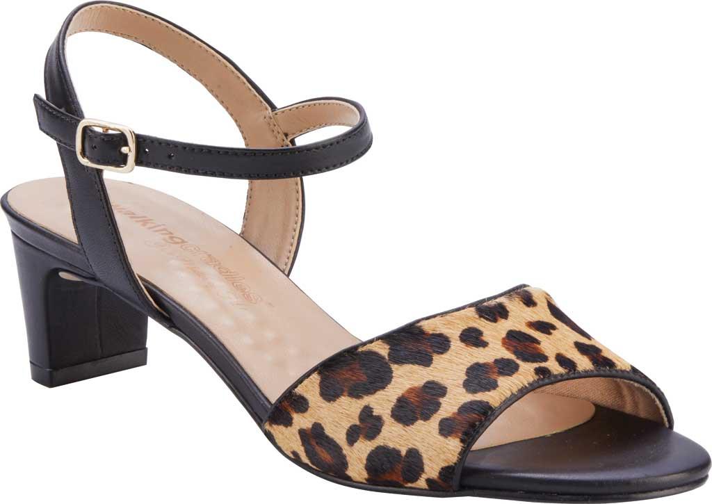 Women's Walking Cradles Lydia Quarter Strap Heeled Sandal, Leopard/Black Calf Hair/Leather, large, image 1