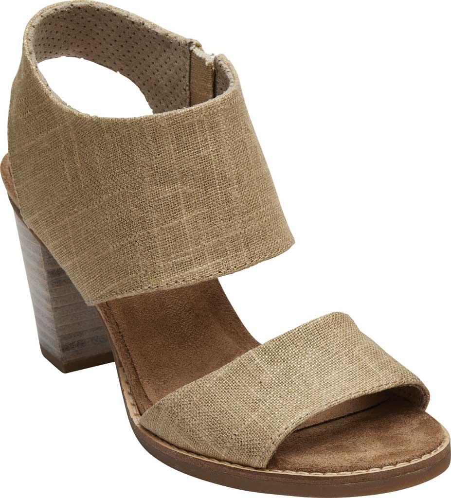 Women's TOMS Majorca Cut-Out Sandal, Champagne Metallic Foil Textile, large, image 1