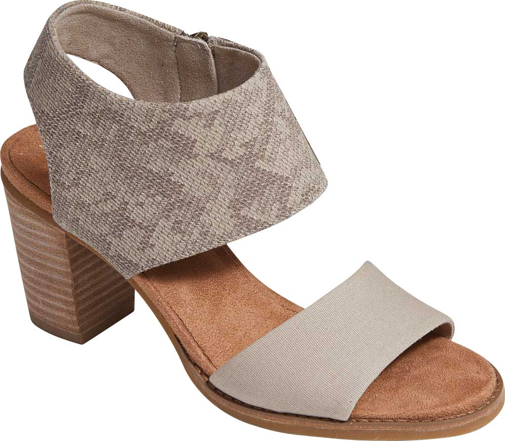 Women's TOMS Majorca Cut-Out Sandal, Cobblestone Snake Printed Twill/Canvas, large, image 1