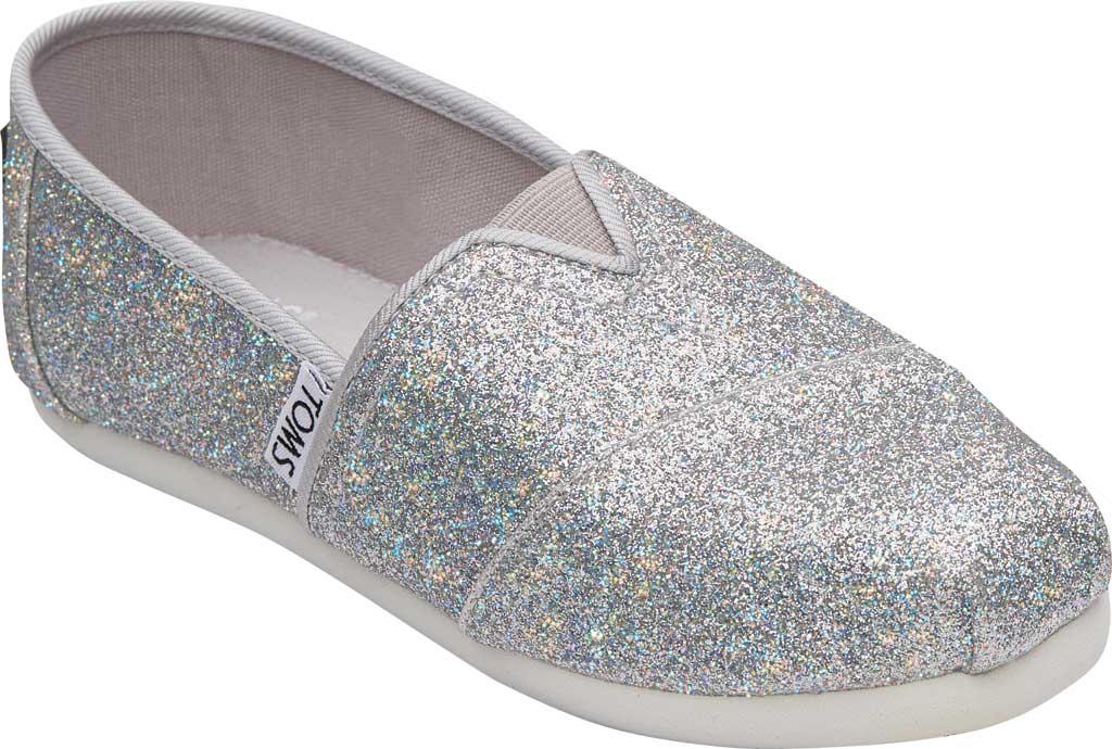 Children's TOMS Seasonal Classic Alpargata, Silver Iridescent Glimmer, large, image 1