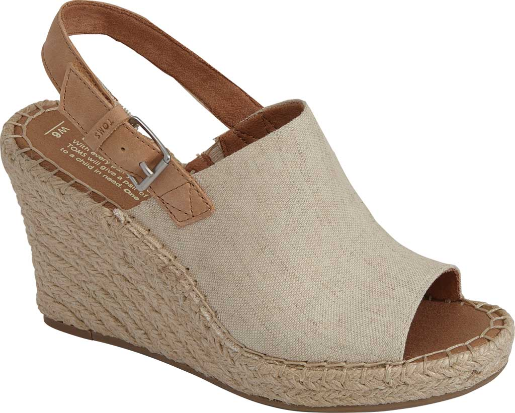 Women's TOMS Monica Slingback Wedge Sandal, Natural Hemp/Leather, large, image 1