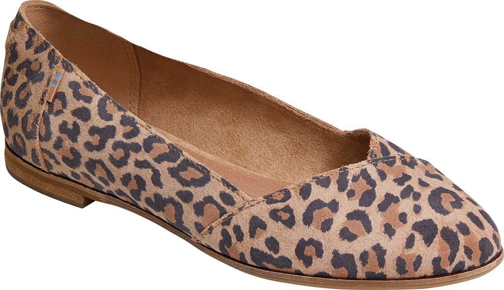 Women's TOMS Julie Flat, Desert Tan Leopard Print Suede, large, image 1