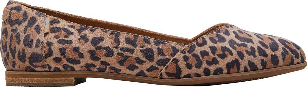Women's TOMS Julie Flat, Desert Tan Leopard Print Suede, large, image 2