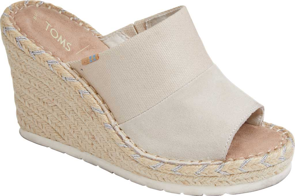Women's TOMS Monica Rope Sole Wedge Slide, Natural Shimmer Suede/Textile, large, image 1