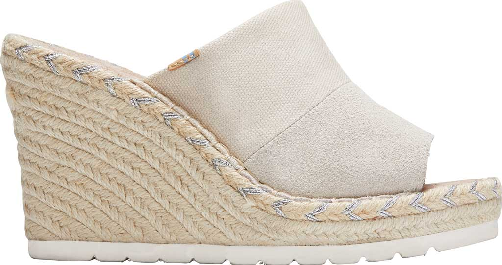 Women's TOMS Monica Rope Sole Wedge Slide, Natural Shimmer Suede/Textile, large, image 2