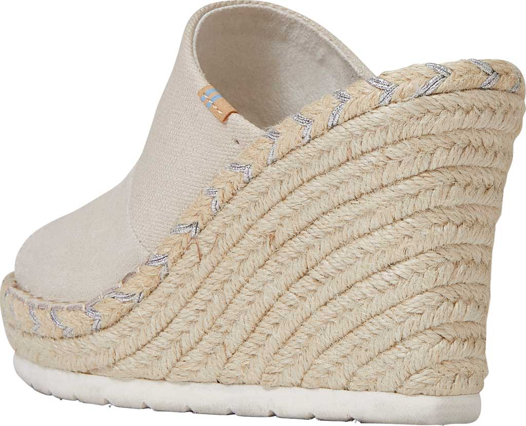Women's TOMS Monica Rope Sole Wedge Slide, Natural Shimmer Suede/Textile, large, image 3