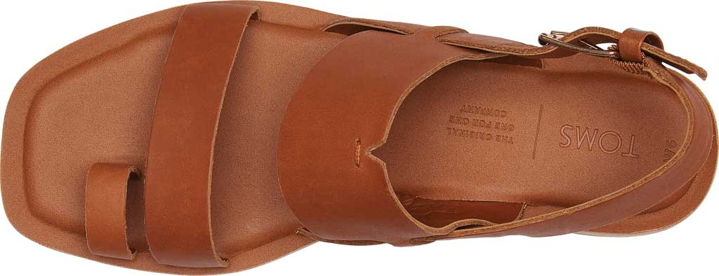 Women's TOMS Freya Vegan Leather Toe Loop Sandal, Tan Vegan Leather, large, image 4