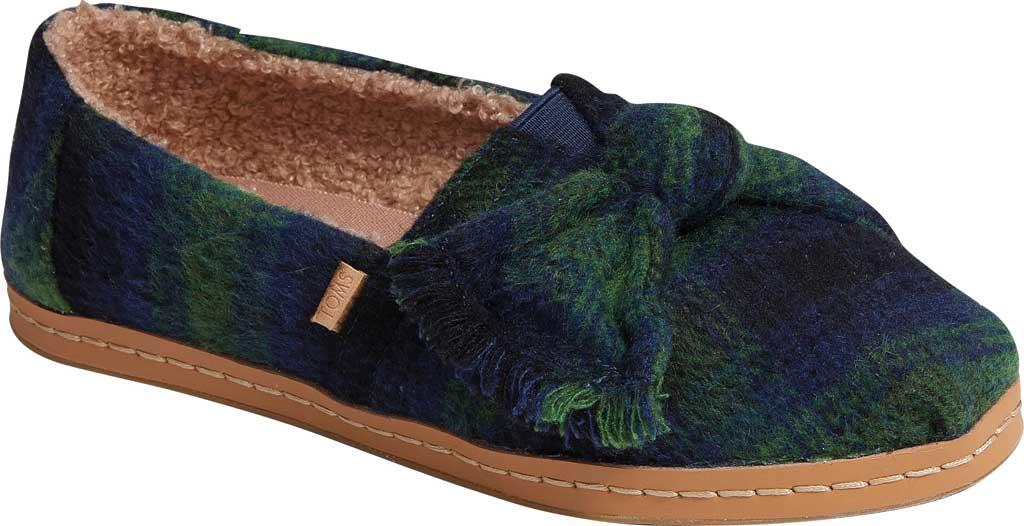 Women's TOMS Alpargata Leather Wrap Slip On Shoe, Galapagos Green Plaid/Faux Shearling, large, image 1