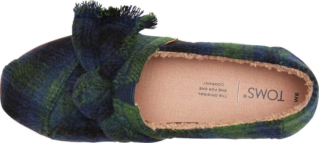 Women's TOMS Alpargata Leather Wrap Slip On Shoe, Galapagos Green Plaid/Faux Shearling, large, image 2