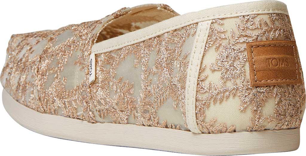 Women's TOMS Alpargata 3.0 Hibiscus Floral Lace Slip On Shoe, Natural Metallic Hibiscus Fabric, large, image 3