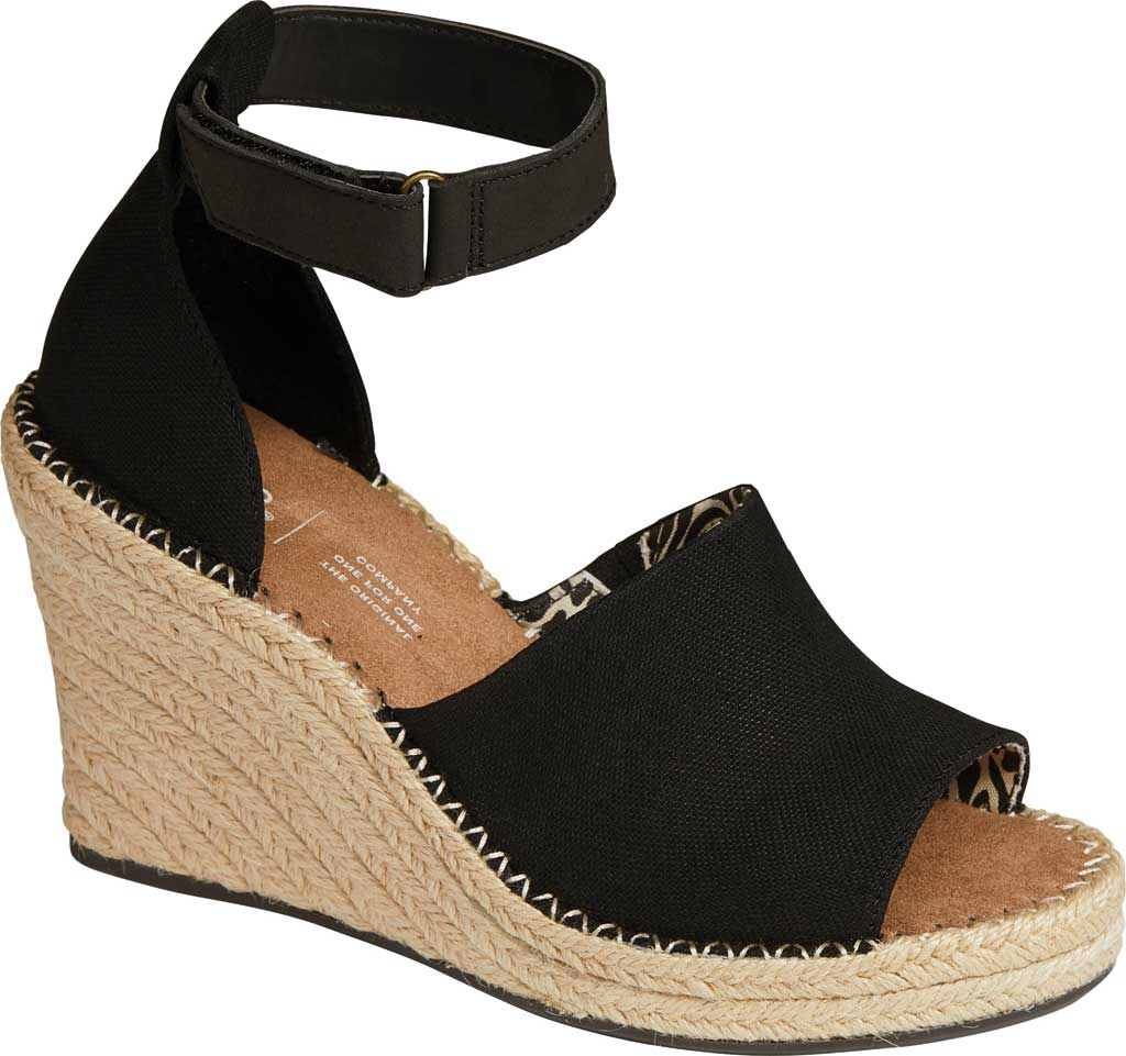 Women's TOMS Marisol Wedge Ankle Strap Sandal, Black Oxford Leather, large, image 1