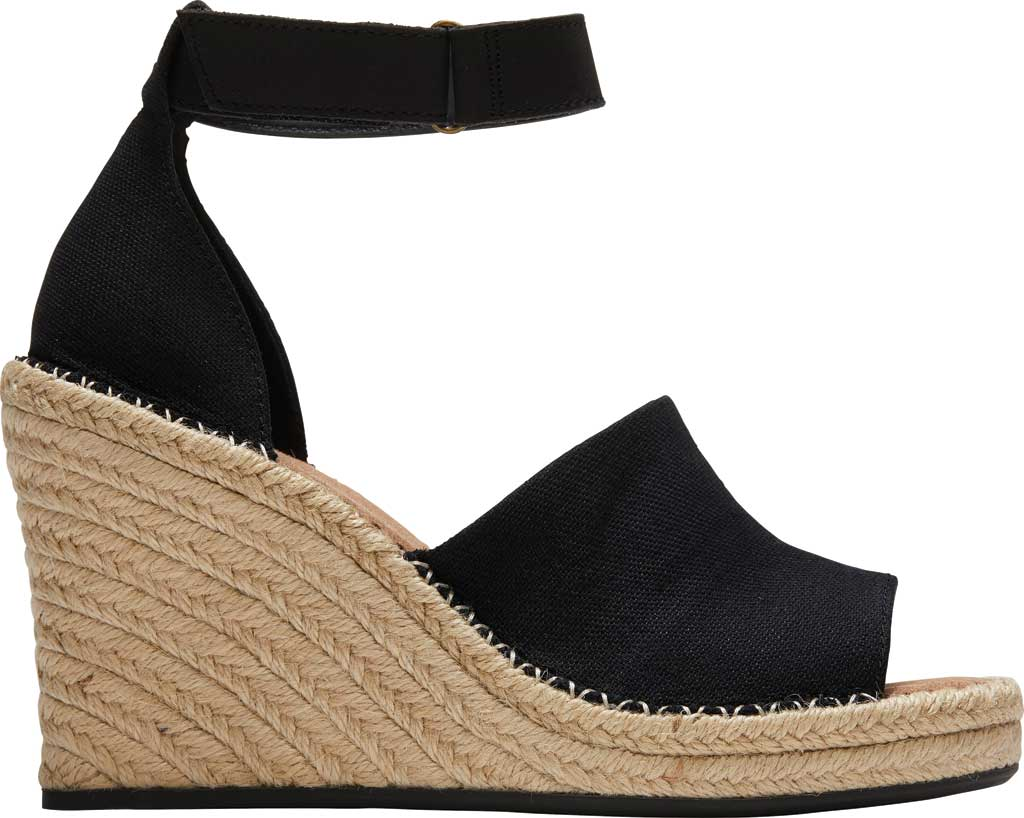 Women's TOMS Marisol Wedge Ankle Strap Sandal, Black Oxford Leather, large, image 2
