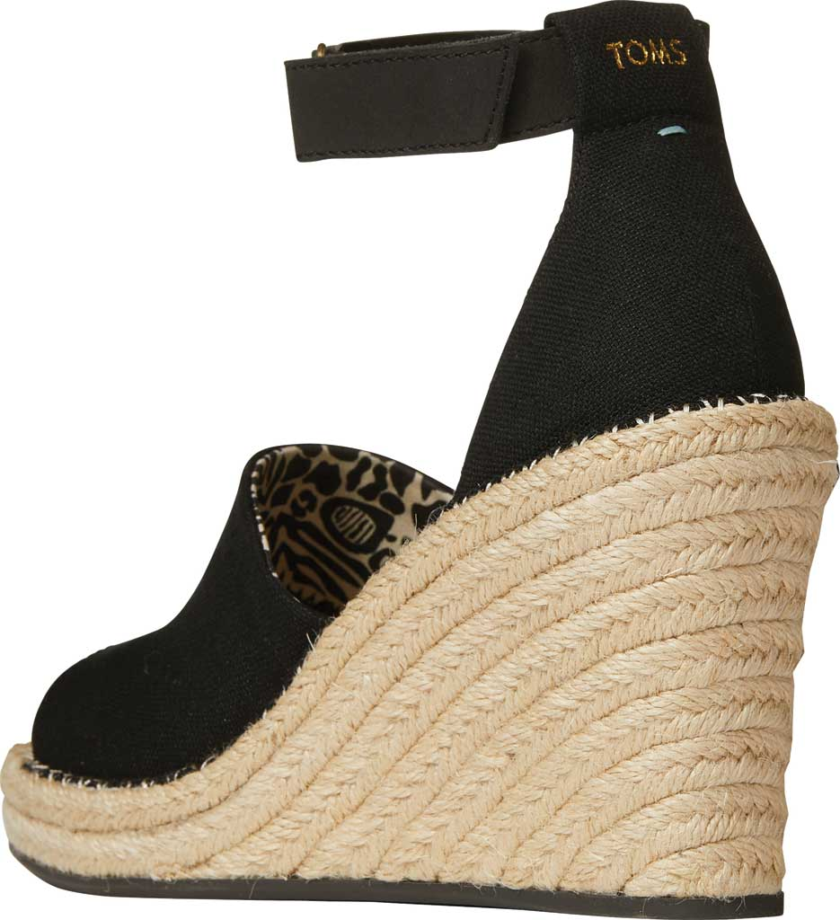 Women's TOMS Marisol Wedge Ankle Strap Sandal, Black Oxford Leather, large, image 3