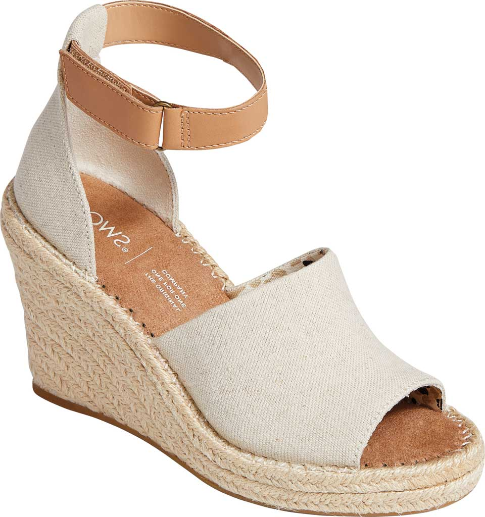 Women's TOMS Marisol Wedge Ankle Strap Sandal, Natural Oxford Leather, large, image 1