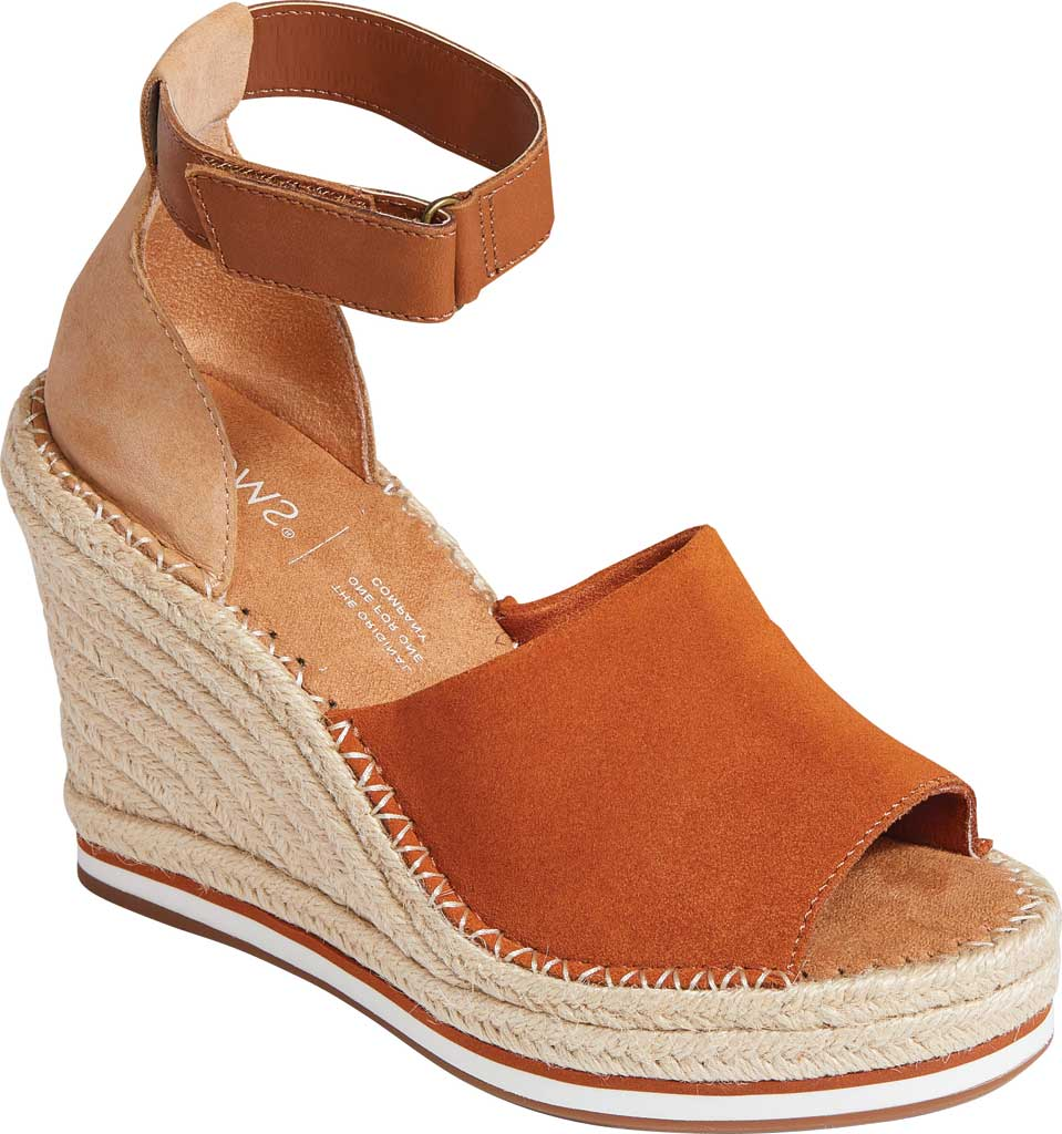 Women's TOMS Marisol Wedge Ankle Strap Sandal, Umber Brown/Multi Suede/Leather, large, image 1