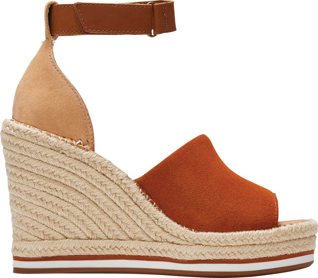 Women's TOMS Marisol Wedge Ankle Strap Sandal, Umber Brown/Multi Suede/Leather, large, image 2