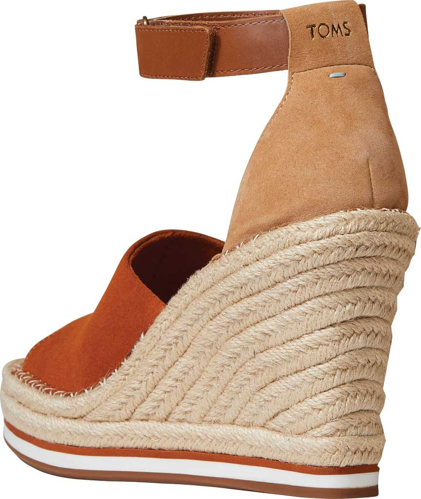 Women's TOMS Marisol Wedge Ankle Strap Sandal, Umber Brown/Multi Suede/Leather, large, image 3