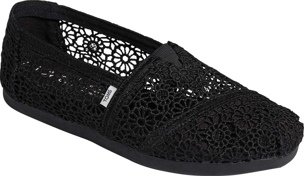 Women's TOMS Alpargata 3.0 Moroccan Crochet Slip On Shoe, Black Moroccan Crochet Fabric, large, image 1