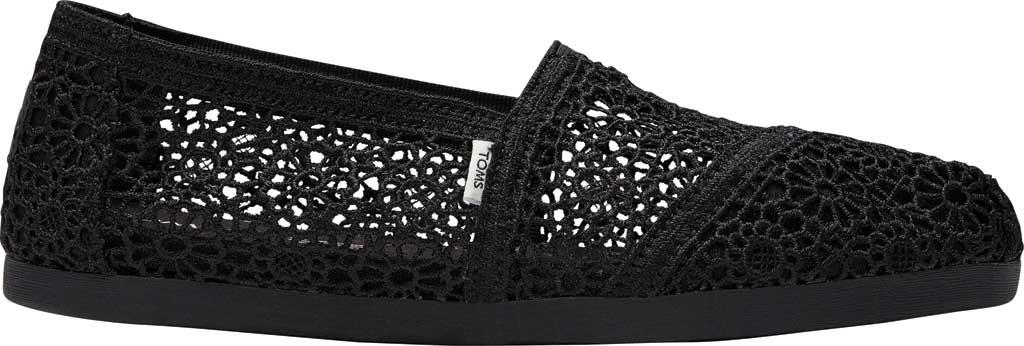 Women's TOMS Alpargata 3.0 Moroccan Crochet Slip On Shoe, Black Moroccan Crochet Fabric, large, image 2