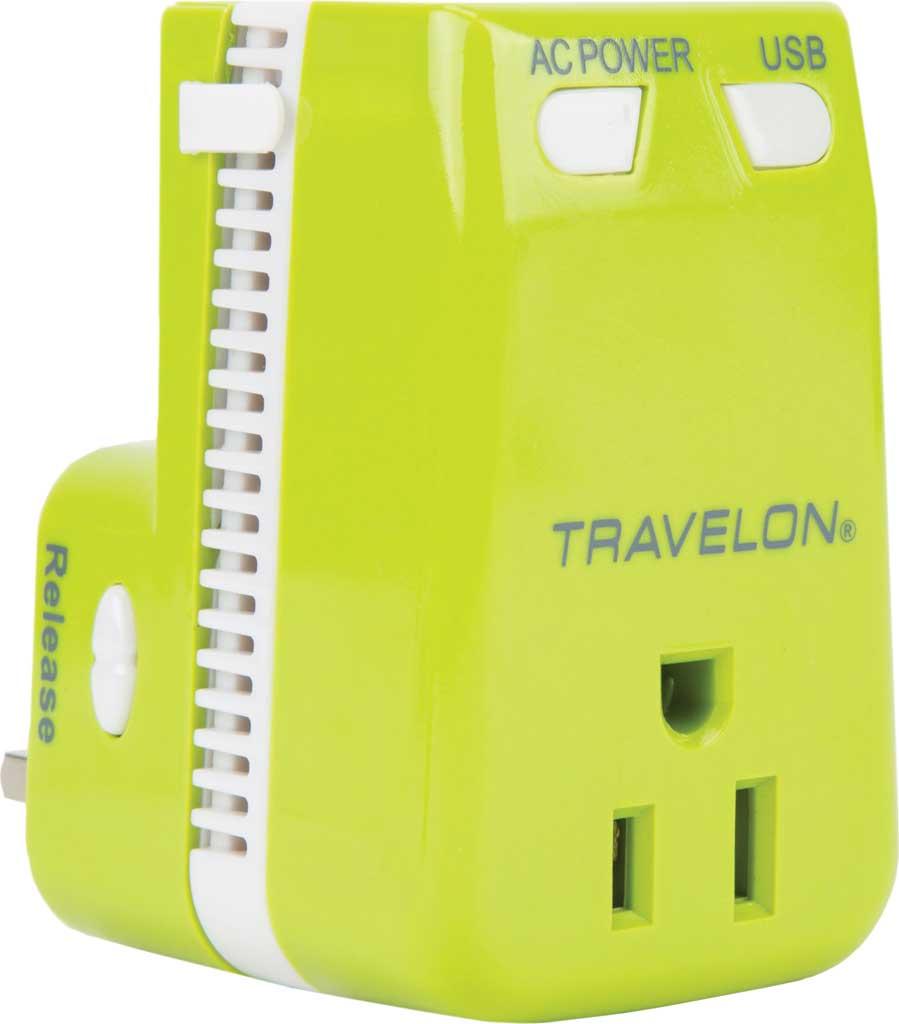 Travelon Universal 3-In-1 Converter,Adapter,and USB, Lime, large, image 1