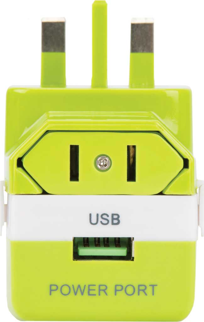 Travelon Universal 3-In-1 Converter,Adapter,and USB, Lime, large, image 3