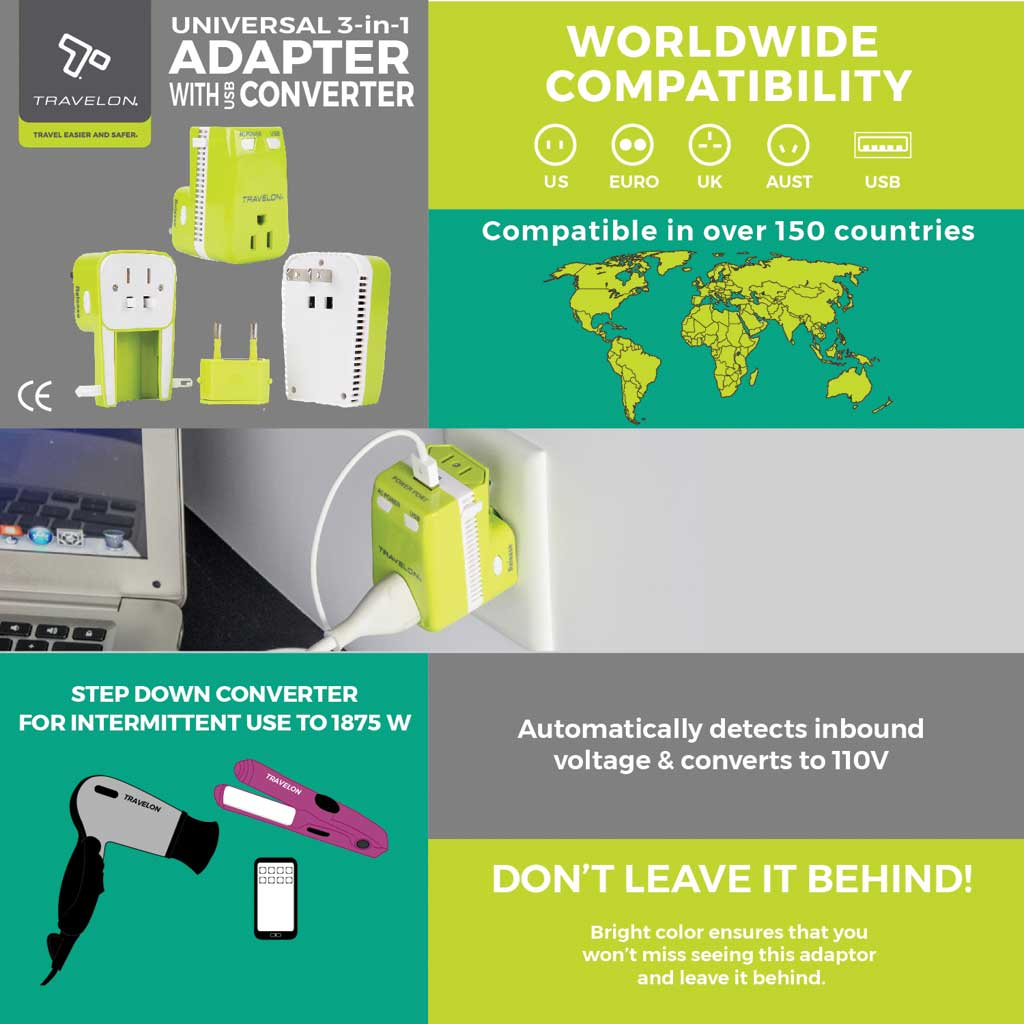 Travelon Universal 3-In-1 Converter,Adapter,and USB, Lime, large, image 7