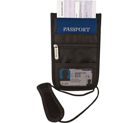 Travelon RFID Blocking Deluxe Boarding Pouch, Black, large, image 1