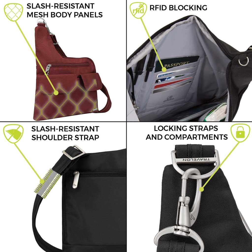 Women's Travelon Anti-Theft Cross-Body Bag, Wine, large, image 6