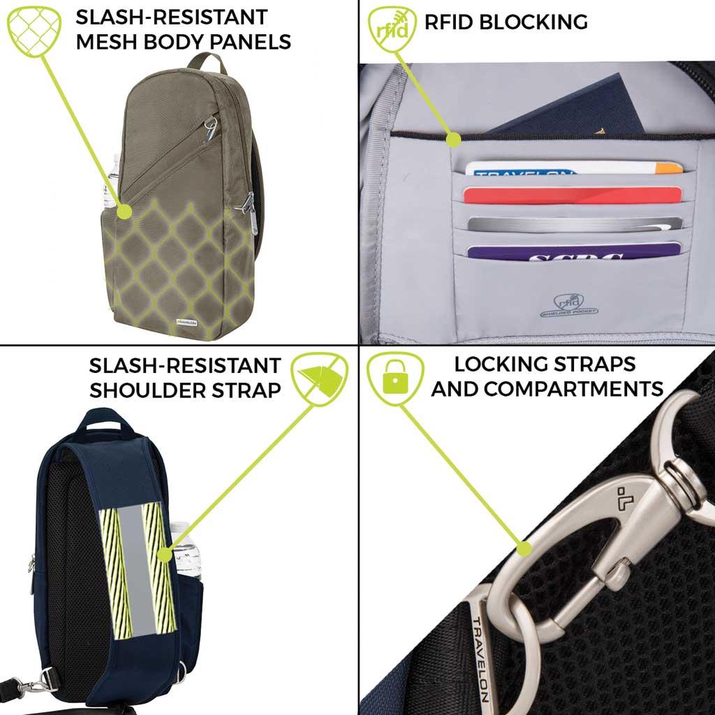 Travelon Anti-Theft Classic Sling Bag, Nutmeg, large, image 6
