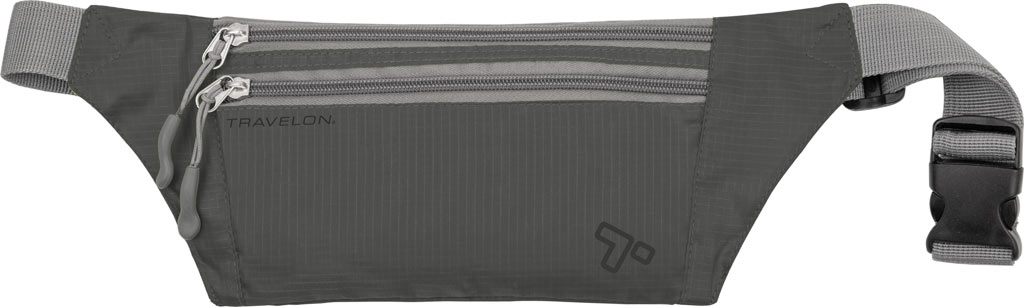 Travelon Double Zip Waist Pack, Charcoal, large, image 1