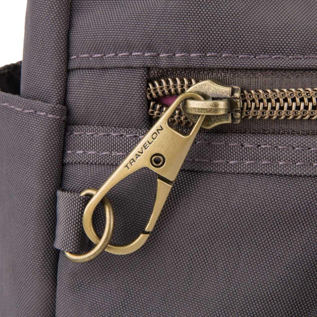 Travelon Anti-Theft Signature Hobo Bag, Smoke, large, image 4