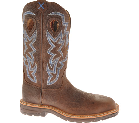 Men's Twisted X MLCS003 Lite Weight Steel Toe Cowboy Work, Brown Pebble/Brown Pebble Leather, large, image 1