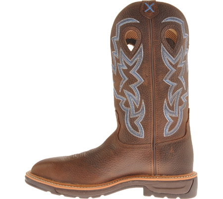 Men's Twisted X MLCS003 Lite Weight Steel Toe Cowboy Work, Brown Pebble/Brown Pebble Leather, large, image 3