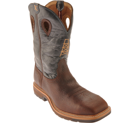 Men's Twisted X MLCS006 Lite Weight Work Boot Safety Toe, Oiled Cognac/Blue Leather, large, image 1