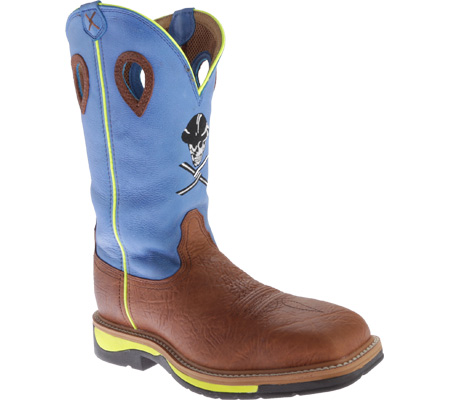 Men's Twisted X MLCS012 Lite Weight Cowboy Work, Brown Oiled Shoulder/Neon Blue, large, image 1