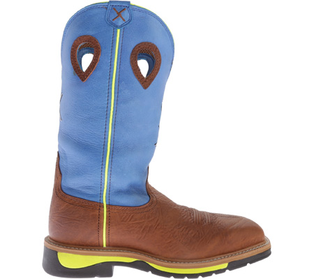 Men's Twisted X MLCS012 Lite Weight Cowboy Work, Brown Oiled Shoulder/Neon Blue, large, image 2