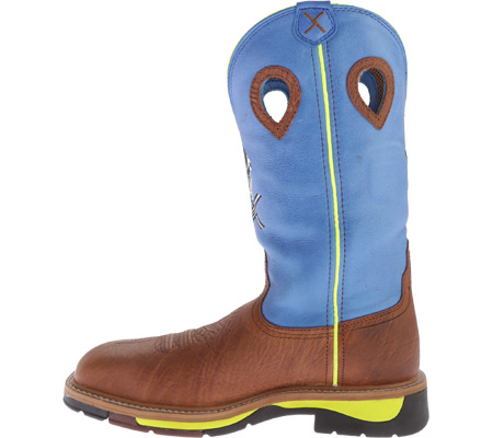 Men's Twisted X MLCS012 Lite Weight Cowboy Work, Brown Oiled Shoulder/Neon Blue, large, image 3