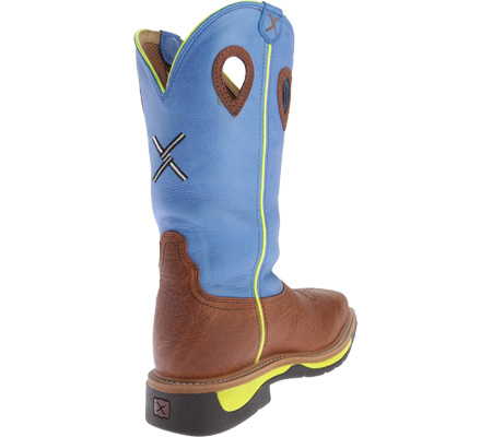 Men's Twisted X MLCS012 Lite Weight Cowboy Work, Brown Oiled Shoulder/Neon Blue, large, image 4
