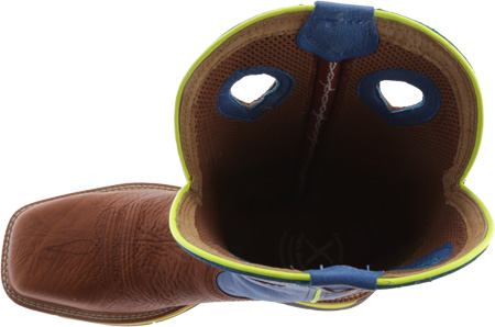 Men's Twisted X MLCS012 Lite Weight Cowboy Work, Brown Oiled Shoulder/Neon Blue, large, image 5