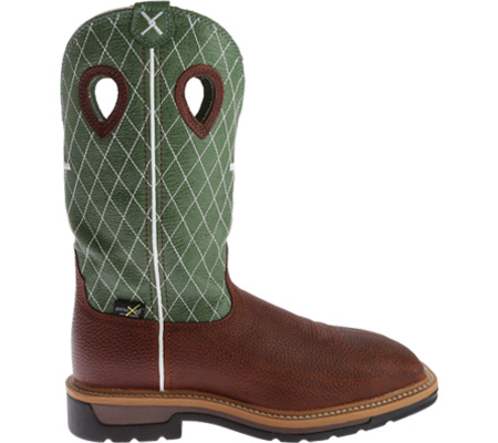 Men's Twisted X MLCSM01 Lite Weight Work Boot Safety Toe Metguard, Cognac Glazed Pebble/Lime Leather, large, image 2