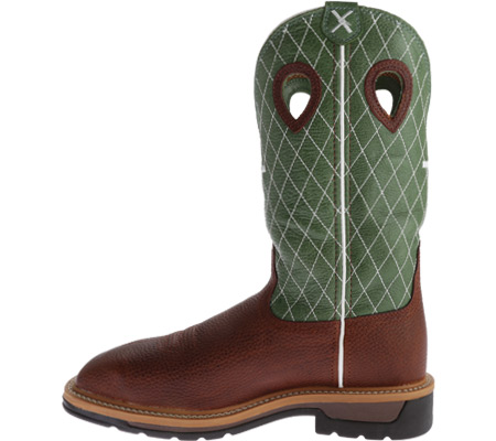 Men's Twisted X MLCSM01 Lite Weight Work Boot Safety Toe Metguard, Cognac Glazed Pebble/Lime Leather, large, image 3