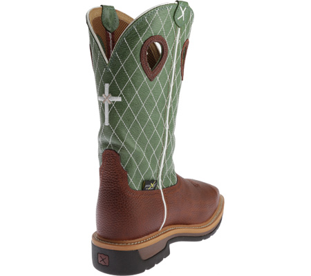 Men's Twisted X MLCSM01 Lite Weight Work Boot Safety Toe Metguard, Cognac Glazed Pebble/Lime Leather, large, image 4