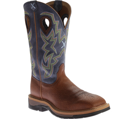 Men's Twisted X MLCW016 Lite Weight Work Boot, Peanut Distressed/Navy Leather, large, image 1