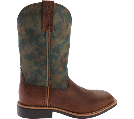 Children's Twisted X YCW0009 Cowkid's Work Boot, Peanut Distressed/TX Camo Leather, large, image 2